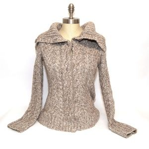 Sundance Chunky Cable knit Cowl Turtleneck sweater